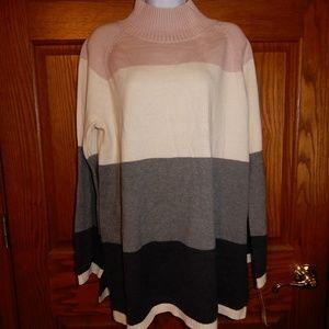 Charter Club High Neck Striped Sweater